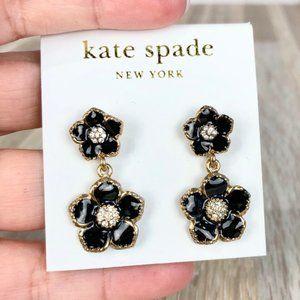 Kate Spade NY Black Floral Drop Earrings New